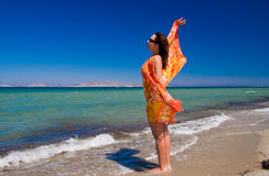 Women in pareo on holidays Royalty Free Stock Image
