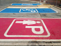 Women parking symbol and handicapped parking symbol. Royalty Free Stock Images