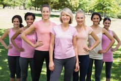 Women participating in breast cancer awareness Royalty Free Stock Photos
