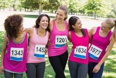 Women participating in breast cancer marathon Stock Image