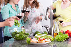 Women party in kitchen Stock Image