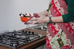 Women with patchwork apron Royalty Free Stock Images