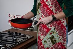 Women with patchwork apron Stock Image