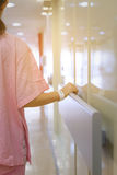 Women patient hand holding to handrail in hospital royalty free stock photos