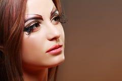 Women with perfect art make up. Gorgeous Young model beautiful woman with perfect art make up and long false eyelashes Royalty Free Stock Photos
