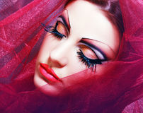 Women with perfect art make up. Gorgeous Young model beautiful woman with perfect art make up and long false eyelashes made from feathers Royalty Free Stock Images