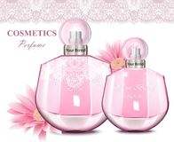 Women perfume bottle with delicate flowers fragrance. Realistic Vector Product packaging designs. Women perfume bottle with delicate flowers fragrance. Realistic Stock Photography
