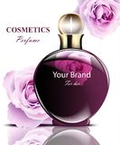 Women perfume dark bottle with delicate rose flowers fragrance. Realistic Vector Product packaging designs. Women perfume dark bottle with delicate rose flowers Royalty Free Stock Images