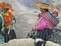 Women in the Peruvian Andes. Women with child and sheep in the Lares Valley, Peruvian Andes royalty free stock photo