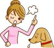 Women and Pets. This is illustrated in the dog training only Stock Images