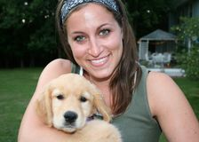 Women Petting Dog Royalty Free Stock Images