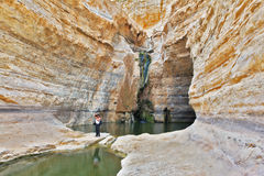 The women photographer. Beautiful gorge in the Negev desert. Ein Avdat Canyon, a female photographer taking pictures scenic landscape Stock Photos