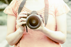 Women photographer Stock Photography