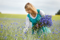 Women picking flowers Stock Photos