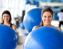 Women with pilates ball Stock Photo