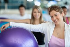 Women with pilates ball Stock Image