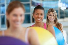 Women with pilates ball Stock Images