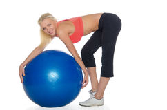 Women pilates exercises with a ball Stock Image