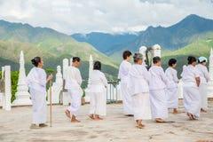 Women pilgrims in Wat Phra That Doi Kong Mu Royalty Free Stock Photos