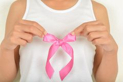 Women with pink bow stock images