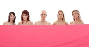 Women in pink - Breast Cancer Awereness Royalty Free Stock Images