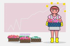 Women pink dress is holding a product and the graph of the business is the background. - Flat cartoon and concept of Flower shop. Women pink dress is holding a Stock Images