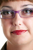 Women in a pink glasses Stock Photos