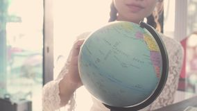 Women plan to travel. Around the world stock video footage