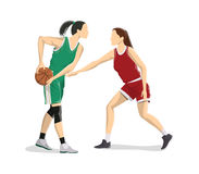 Women play basketball. Characters on white background Royalty Free Stock Image