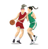 Women play basketball. Isolated characters on white background Royalty Free Stock Photos