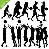 Women play basketball silhouettes vector. Set of women play basketball silhouettes vector stock illustration
