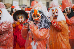 Women play flutes at Basel Carnival in Basel, Switzerland. Stock Photos