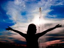 Women play fountain Royalty Free Stock Image
