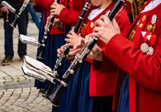 Women play a piece of music on the clarinet royalty free stock photo