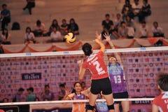 Women players blockking ball Royalty Free Stock Photo