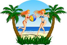 Women Playing Beach Ball On The Beach. Beautiful blonde women playing with a ball on a tropical beach Royalty Free Stock Photography