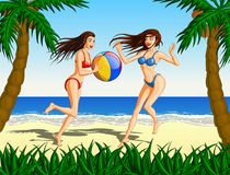 Women Playing Beach Ball On The Beach Royalty Free Stock Photo