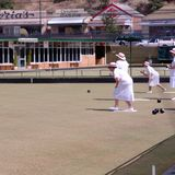 Women playing bowls in the outback stock photos