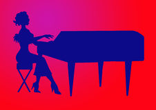 Women playing the grand piano Royalty Free Stock Image