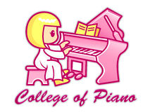 Women are playing a grand piano. College of Piano Mascot. Educat Stock Images