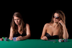 Women playing poker Royalty Free Stock Photo