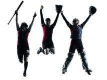 Women playing softball players silhouette isolated Royalty Free Stock Photo