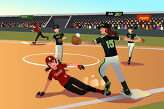 Women playing softball Royalty Free Stock Images
