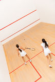 Women playing squash Royalty Free Stock Photos