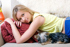 Women plays with a puppy of a terrier Royalty Free Stock Images