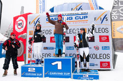Women Podium of Carving World challenge 2011 Royalty Free Stock Image