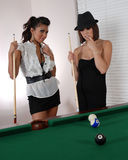 Women pool players Stock Images