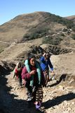 Women porter parade on a Himalayan trail. Women porters walking along the Singhalila Trail, Himalayan mountains in northeast India Royalty Free Stock Photos