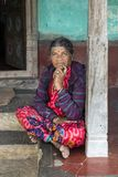 Women portrait, India. Portrait of senior women standing and posing on the porch of her house, in the remote village of Anchetty, Tamil Nadu, India. Photo taken royalty free stock photography