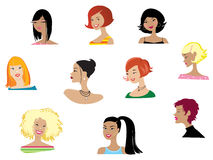 Women portraits. Vector illustration of ten women Stock Photography